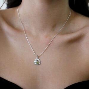 stephanie robinson sterling silver watermelon tourmaline trillion disc pendant designyard contemporary jewellery gallery dublin ireland irish designer handmade luxury jewelry