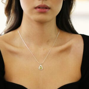 stephanie robinson sterling silver watermelon tourmaline trillion disc pendant designyard contemporary jewellery gallery dublin ireland luxury irish designer jewelry