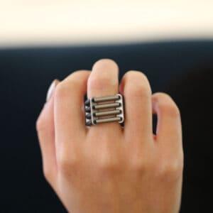 ursula muller black grey aluminium four row ring designyard contemporary jewellery gallery dublin ireland jewelry