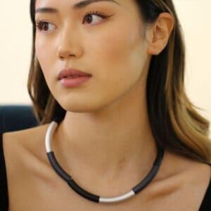 ursula muller black navy silver tube necklace designyard contemporary jewellery gallery dublin ireland luxe jewelry