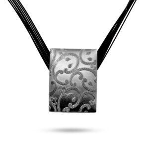 ursula muller black reversible black champagne aluminium necklace designyard contemporary jewellery gallery dublin ireland handmade design designer jewelry shop jewellers
