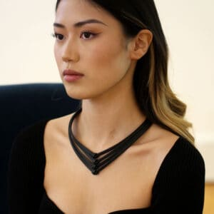 ursula muller four row black knotted rubber necklace designyard contemporary jewellery gallery dublin ireland luxe jewelry