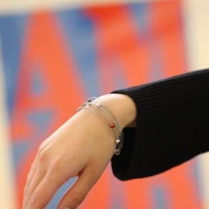 ursula muller red grey black aluminium bracelet designyard contemporary jewellery gallery dublin ireland luxe jewelry