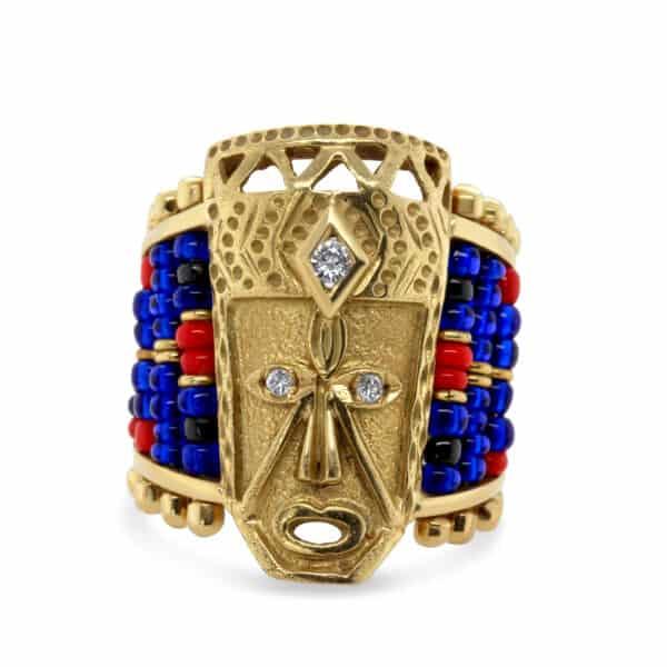 18k yellow gold african mask glass bead diamond ring designyard vintage jewellery edit dublin ireland vintage ethnic jewelry design designer jewellers shop