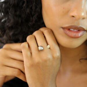angela hubel 18k rose gold diamond tahiti pearl gemini ring designyard contemporary jewellery gallery dublin ireland handmade jewelry designer design irish jewellers shop