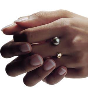 angela hubel 18k rose gold diamond tahiti pearl gemini ring designyard contemporary jewellery gallery dublin ireland handmade designer design irish jewellers shop luxury bespoke fine