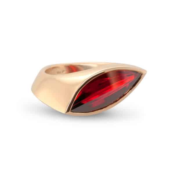 angela hubel 18k rose gold garnet navette ring designyard contemporary jewellery gallery dublin ireland handmade irish jewellers shop design designer bespoke jewelry luxury