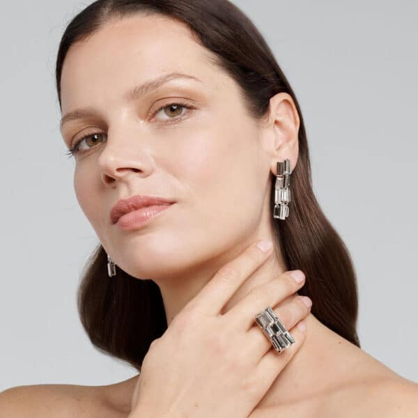 simon harrison caddis multi baguette short earrings shj010-01-02 designyard contemporary jewellery gallery dublin ireland handmade jewelry designer design shop