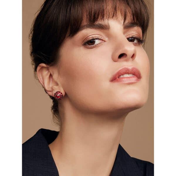 simon harrison coral crystal enamel stud earring shj191-02-107 designyard contemporary jewellery gallery dublin ireland handmade luxury design designer jewelry shop