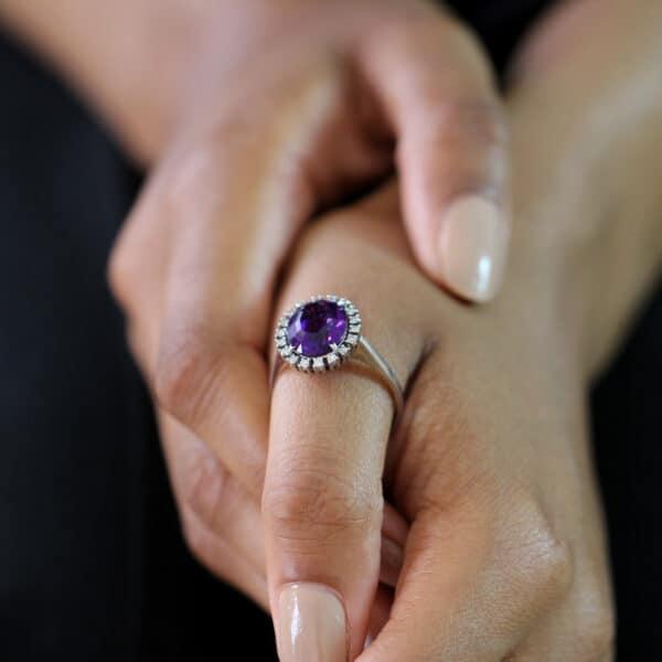 14k white gold amethyst diamond ring designyard vintage jewellery edit dublin ireland antique vintage handmade jewelry design designer irish jewellers shop