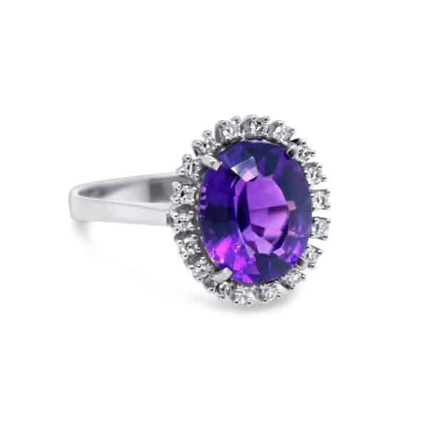 14k white gold amethyst diamond ring designyard vintage jewellery edit dublin ireland jewellers shop design designer irish