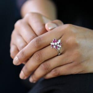 14k white gold ruby diamond cluster ring designyard vintage jewellery edit dublin ireland design designer vintage antique irish jewellers shop