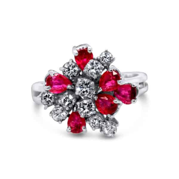 14k white gold ruby diamond cluster ring designyard vintage jewellery edit dublin ireland fine vintage jewelry jewellers shop design designer irish