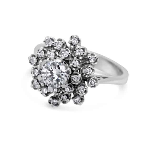 18k white gold diamond cluster ring designyard vintage jewellery edit dublin ireland jewellers jewelry fine luxury vintage shop alternative