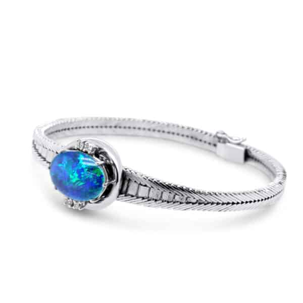 18k white gold opal diamond bracelet designyard vintage jewellery edit dublin ireland jewelry jewellers design designer shop irish