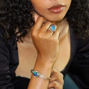 18k white gold opal diamond ring bracelet designyard vintage jewellery edit dublin ireland vintage jewellery antique jewellers shop design designer