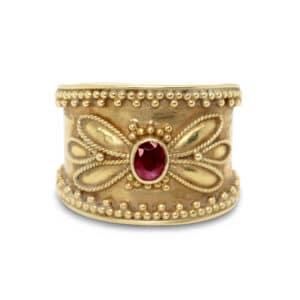 18k yellow gold granulated ruby ring designyard vintage jewellery edit dublin ireland handmade vintage jewelry designer design jewellers shop irish