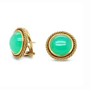 18k yellow gold green agate earrings designyard vintage jewellery edit dublin ireland jewelry design designer jewellers shop