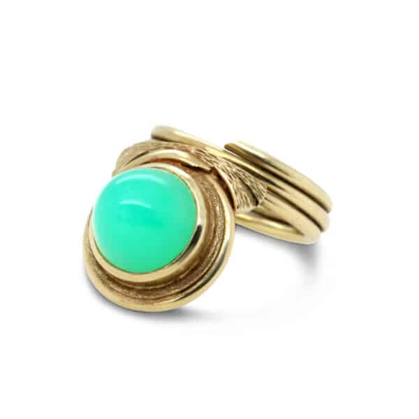 18k yellow gold green agate ring designyard vintage jewellery edit dublin ireland jewellers shop design designer irish