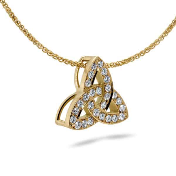 18k yellow gold trinity knot diamond necklace designyard irish jewelry collection dublin ireland handmade irish jewelry celtic design designer jewellers shop