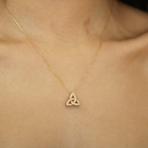 18k yellow gold trinity knot diamond necklace designyard irish jewelry collection dublin ireland fine handmade jewelry designer design jewelllers shop