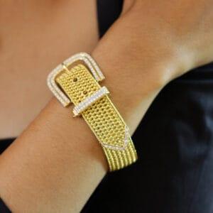 18k yellow gold vintage diamond buckle bracelet designyard vintage jewellery edit dublin ireland handmade jewellers irish design designer shop