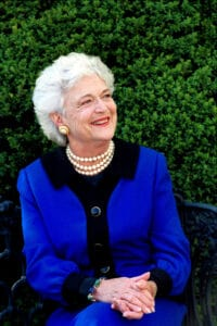 Barbara Bush and her triple strand of faux pearls