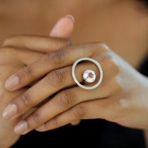 angela hubel 18k white gold treasure island morganite statement ring designyard contemporary jewellery gallery dublin ireland handmade jewelry design designer irish jewellers shop