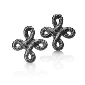 brigitte adolph sterling silver black rhodium pique dame stud earrings diamond designyard contemporary jewellery gallery dublin ireland handmade irish jewelry design designer jewellers shop