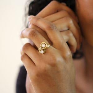 designyard vintage jewellery edit 14k yellow gold two diamond engagement ring contemporary jewellery gallery dublin ireland vintage jewellery design designer jewellers shop