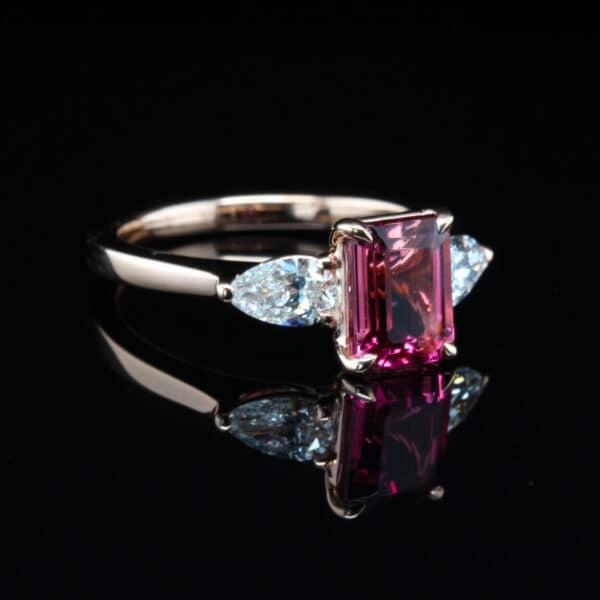 ronan campbell 18k rose gold pink octagon tourmaline pear shape diamond engagement ring designyard contemporary jewellery gallery dublin ireland handmade irish designer jewelry design jewellers shop alternative