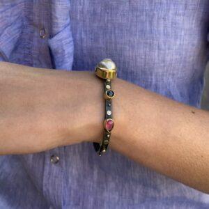 Diamond Pearl Ruby Cuff Bracelet by Josephine Bergsoe at designyard contemporary jewellery gallery dublin ireland