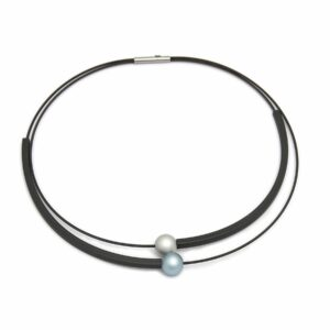 Two bead aluminum and rubber necklace by Ursula Muller at designyard contemporary jewellery dublin ireland