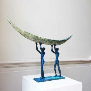 clodagh redden blue bronze ceramic two man boat standing sculpture designyard contemporary art gallery dublin ireland