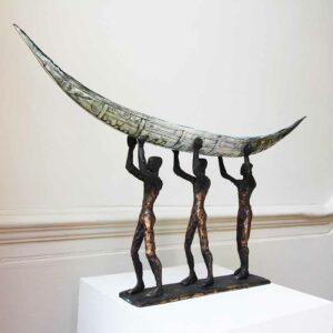 clodagh redden bronze ceramic three man boat standing sculpture designyard contemporary art gallery dublin ireland bronze sculpture