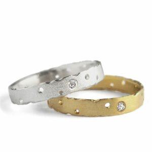 nibbled diamond rings by kate smith at designyard contemporary jewellery dublin ireland