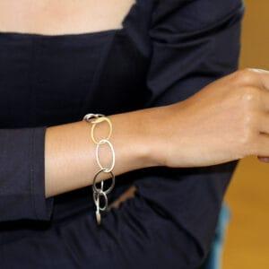 latham and neve sterling silver 18k yellow gold halo bracelet designyard contemporary jewellery gallery dublin ireland handmade jewelry design designer irish jewellers shop