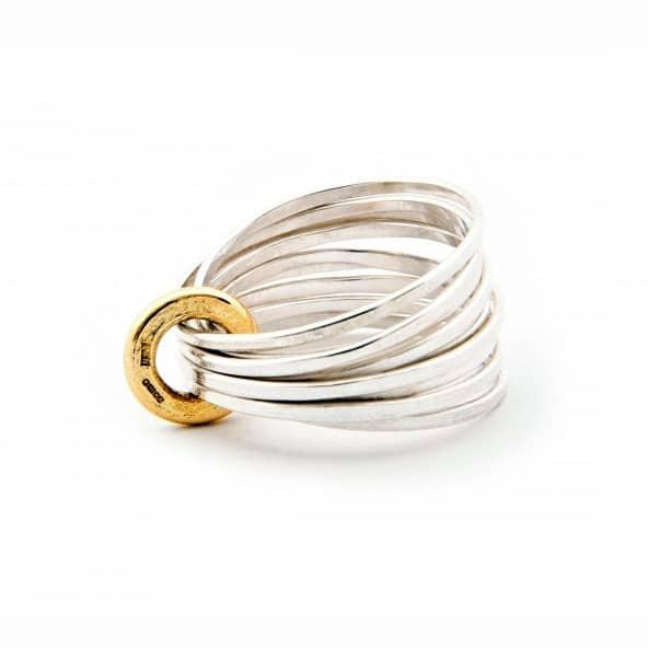 latham and neve sterling silver 18k yellow gold ripple ring designyard contemporary jewellery gallery dublin ireland handmade jewelry design designer irish jewellers shop