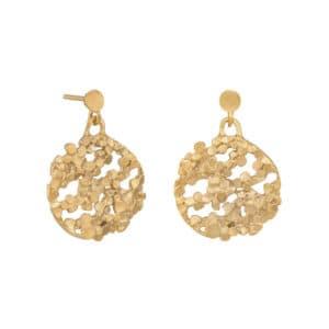 mirri damer gold silver crown disco drop earrings designyard contemporary jewellery gallery dublin ireland handmade jewelry design designer irish jewellers shop