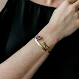 amethyst peridot cuff bangle by Stephanie Robinson at  designyard contemporary jewellery gallery dublin ireland