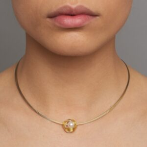Silver and gold bi-metal and pearl ribbon necklace by Manu at designyard contemporary jewellery dublin ireland
