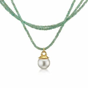 18k yellow gold emerald and south sea pearl Anu necklace by Cassie McCann at designyard contemporary jewellery gallery dublin ireland