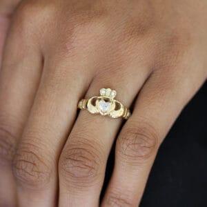 designyard 14k yellow gold heart shape diamond claddagh ring contemporary irish jewelry gallery dublin ireland handmade jewelry design designer irish jewellers celtic shop