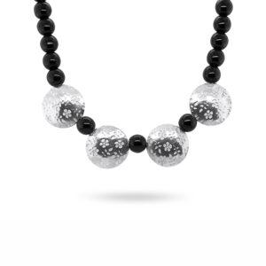jane moore sterling silver black glass bead flower necklace designyard contemporary jewellery gallery dublin ireland handmade jewelry design designer irish jewellers shop