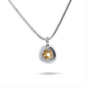 latham and neve sterling silver pebble flower pendant designyard contemporary jewellery gallery dublin ireland handmade jewelry design designer irish jewellers shop