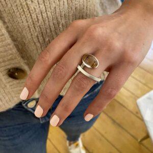 silver rutilated quartz laguna ring by angela hubel at designyard contemporary gallery dublin ireland