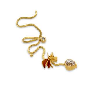 josephine bergsoe 18k 22k gold diamond mucha pave earring designyard contemporary jewellery gallery dublin ireland handmade designer designer jewelry irish jewellers shop