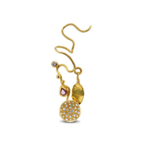 josephine bergsoe 18k 22k gold pink sapphire diamond mucha pave earring designyard contemporary jewellery gallery dublin ireland handmade jewelry design designer irish jewellers shop