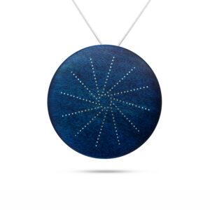 roger bennett sterling silver blue coloured maple rotational pendant with silver inlay designyard contemporary jewellery gallery dublin ireland handmade jewelry design designer irish jewellers shop