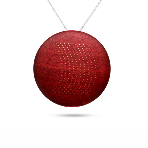 roger bennett sterling silver coloured maple crescent moon pendant with silver inlay designyard contemporary jewellery gallery dublin ireland handmade jewelry design designer irish jewellers shop